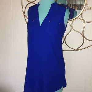 CASHE xs brilliant cobalt blue tunic style top